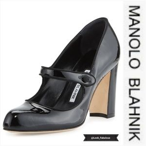 NWOT MANOLO BLAHNIK BLACK PATENT CAMPY MARY JANES